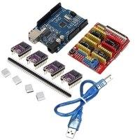 1PC New Arrival CNC Shield + UNO R3 Board + 4 X DRV8825 Driver Kit For Arduino 3D Printer Module Board