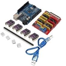 1 PC New Arrival CNC + Escudo UNO R3 Board + 4 X DRV8825 Driver Kit Para Arduino Módulo De Impressora 3D placa