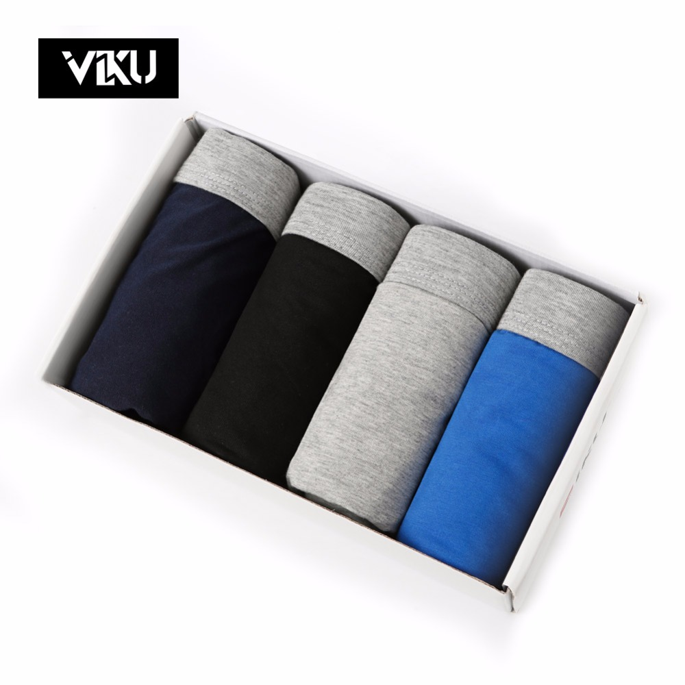 VIKU Large Size Mens Shorts U Convex Design Boxer Men Cotton Modal Mens Underwear Male Underwear 4pcs/lot Mens Shorts 4XL 5XL