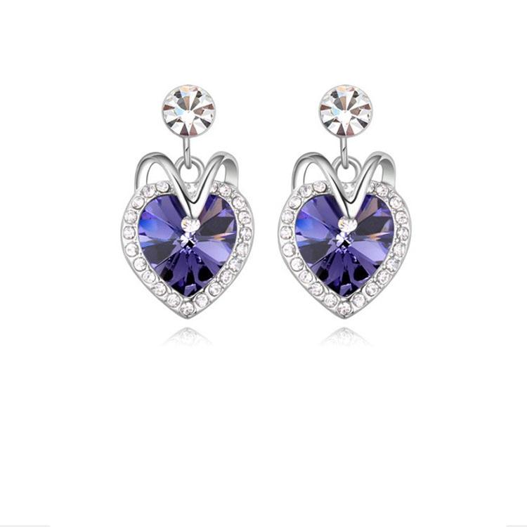 2015 HOT Sale Siver Zinc Alloy Trendy Women Blue Crystal Ocean Heart Stud Earring Titanic Heart of Ocean Womans Stud Earrings 4