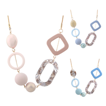 Women's Acrylic Beads Necklaces & Pendants for Women Statement Colorful Beaded Necklace Fashion Jewelry for Gifts to Woman MX019