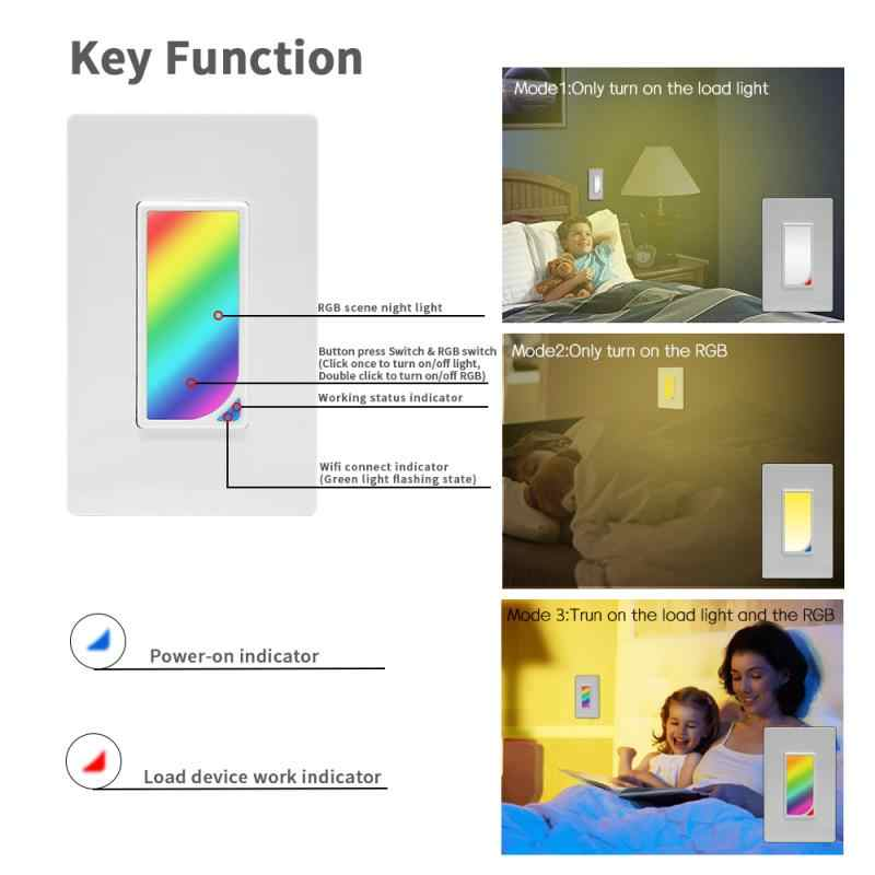Wifi ścianie LED RGB światła sceny Inteligentna żarówka przełącznik 1200 kolory 2W RGB światła sceny zmiana koloru praca z alexa google asystent