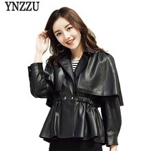 YNZZU Autumn New Cloak Leather Jacket Women Cape Korean Solid Long Sleeve Lace Up Womens Coat Streetwear YO563