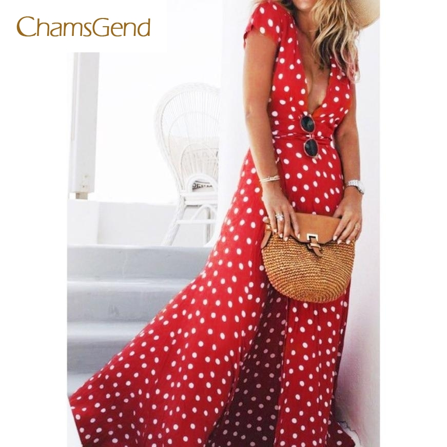 CHAMSGEND Drop Shipping 2017 New Fashion Chiffon Women Summer Short Sleeve Red Dot Long Fit and Flare V-Neck Dress JUN20