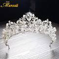 New Gorgeous Simulated Pearls Queen Crowns and Tiaras Crystal Diademas de novia Brides Hair Jewelry Rhinestone Headpiece HG274