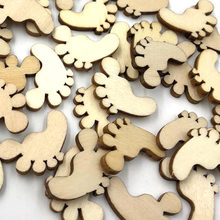 10/50/100pcs Mix Footprint Wooden Buttons Fit Sewing Scrapbooking decoration W491(China)