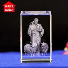 Иисус 3D Выгравированные хрустальные подарки кристальная резьба настольные поделки украшения в форме Креста Иисус-пастырь католические сувениры Иисуса серии