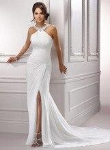 Vestidos De Noiva Elegant White Ivory Chiffon Beach Wedding Dresses Beading Halter Bridal Dresses Custom Size Long Bridal Gown