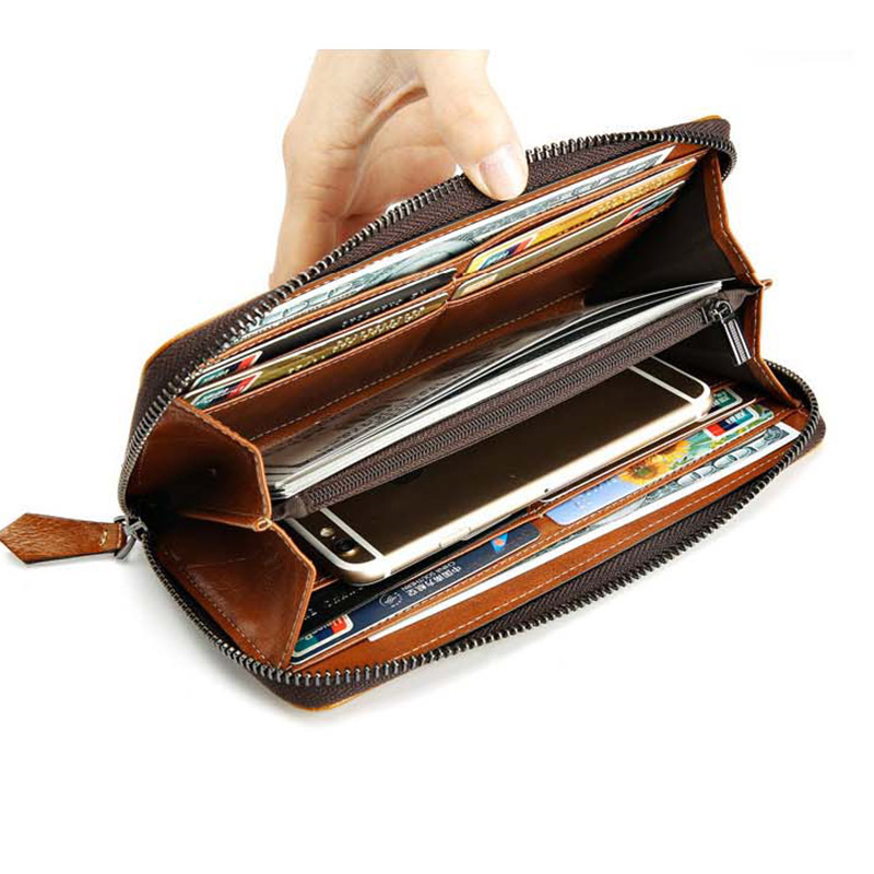 Men Wallets Mens Genuine Leather Purse Famous Brand Coin Clutch Male Purse Multifunction Long Purse For Men Wallet High Quality