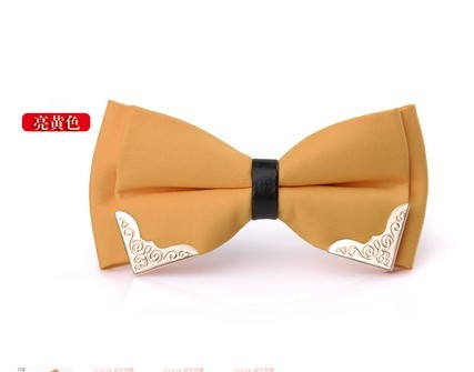 2017 New Extraordinary Temperament Pure Gold Flanger Men's Bows Marriage Business Dress Up British Korean Tattoo Tie