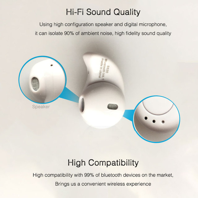 S530 Mini Bluetooth Earphone Wireless Earpieces With Mic Stereo Bluetooth Headset Hands Free In-ear Earbuds for iPhone 5 6 7 8 X