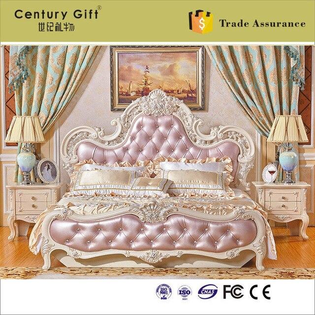 Estilo europeo de madera maciza cama matrimonial talla patrones o ...