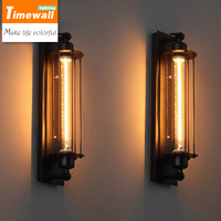 KM Loft Vintage Wall Lamps American Industrial Edison Lightis Bulb 40W E27 Holder Bedside Wall Fixtures