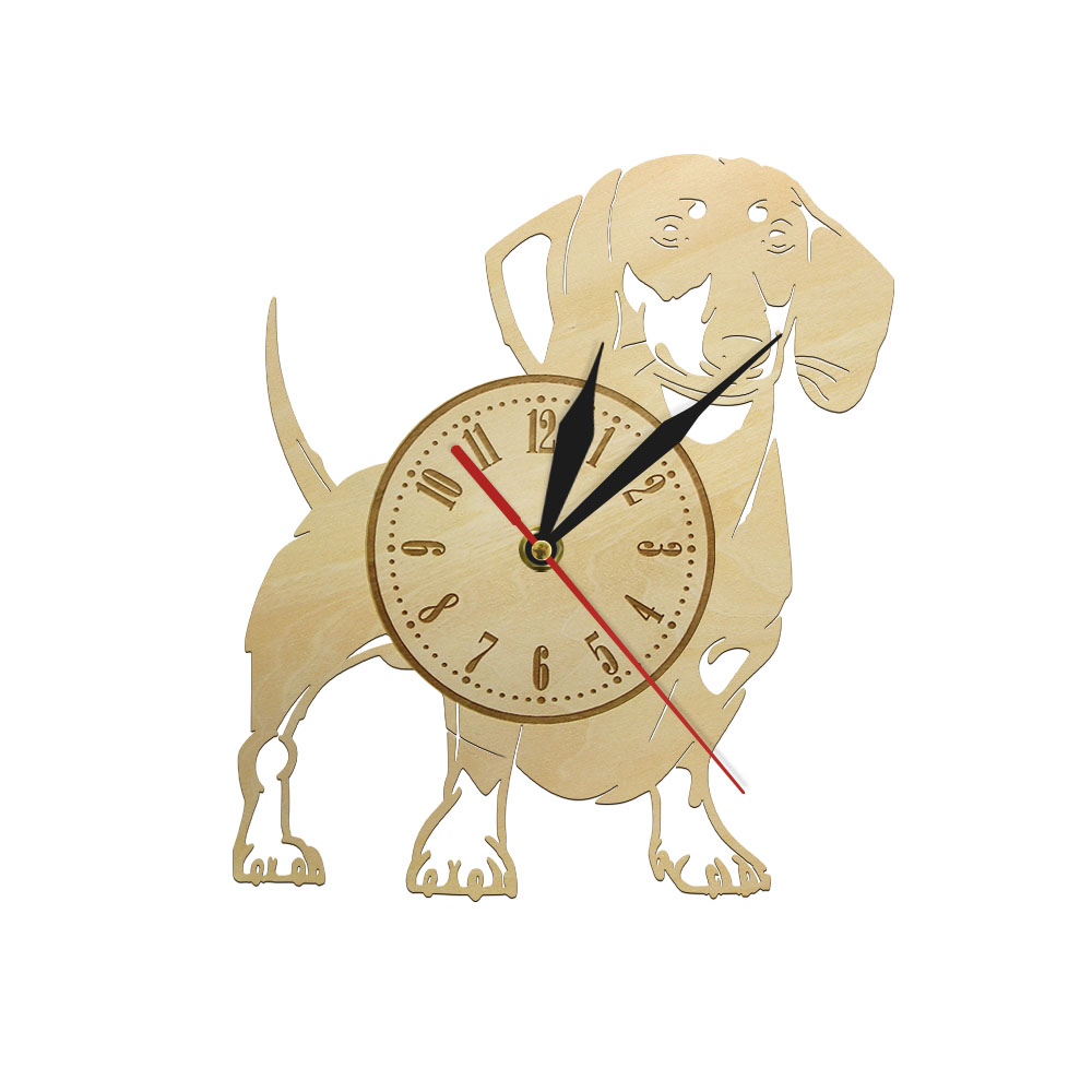 Love Dachshund Dog Contemporary Wall Clock Wiener Dog Farmhouse Style Wall Art Animal Puppy Silent Wood Watch Pets Novelty Gift