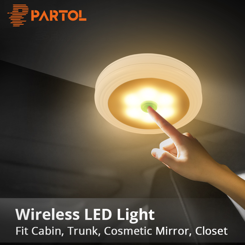 Partol Portable LED Reading Light Book Lamp LED Panel Light Car Light Yellow White Color Dome Lamp for Make Up Cabinet Garden cnsunnylight led car reading light interior luggage door lamp free refit portable emergency light for car home office bedroom