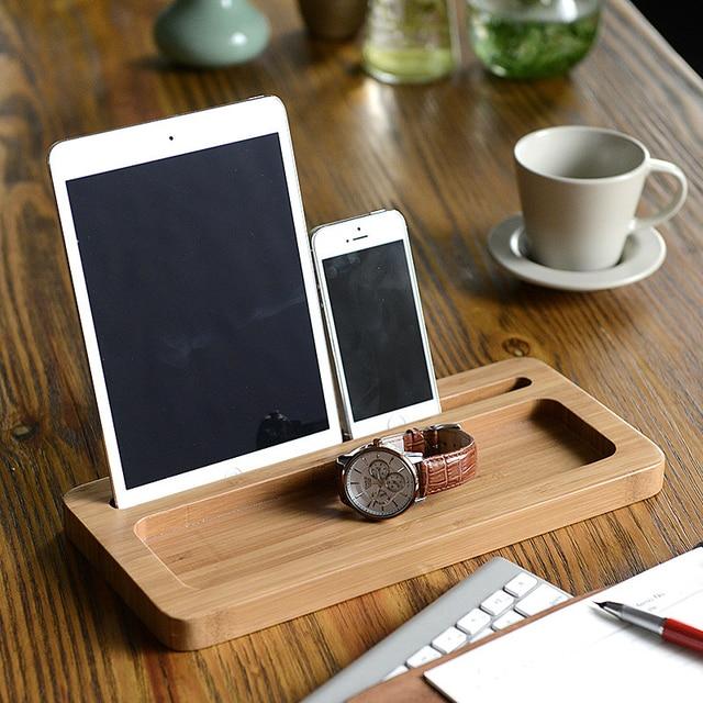 US $21.98 30% OFF|Umweltfreundliche Bambus Multi Gerät Kabel Organizer  Stehen Ladestation und Dock, für iphone/ipad, tabletten, und Handys in ...