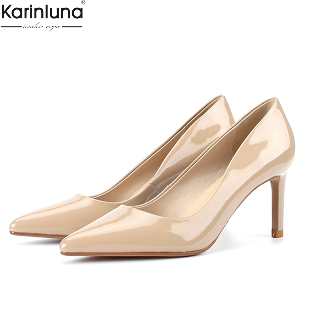 Karinluna 2019 elegant top quality soft full genuine leather Woman Shoes high Heel Party shoes woman pumps lady shoesKarinluna 2019 elegant top quality soft full genuine leather Woman Shoes high Heel Party shoes woman pumps lady shoes