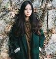 [XITAO] 2016 зима зеленый лес стиль женщины длинное пальто старинные модные женские сплошной цвет оригинальный одной кнопки смесь SGO003