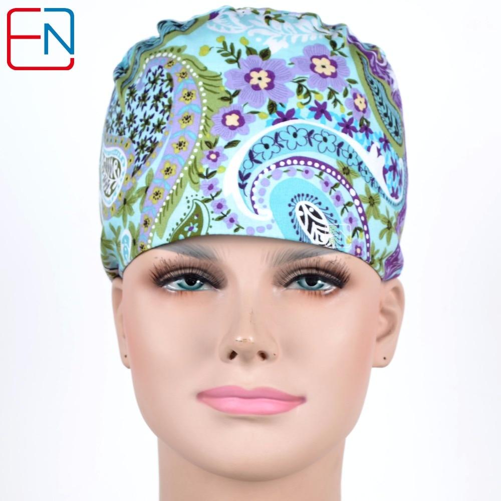 Hennar Printing Nurse Surgical Hats Gray Women 100% Cotton Medical Scrub Caps Mask Hospital Clinic Women's Surgeon Cap Mask