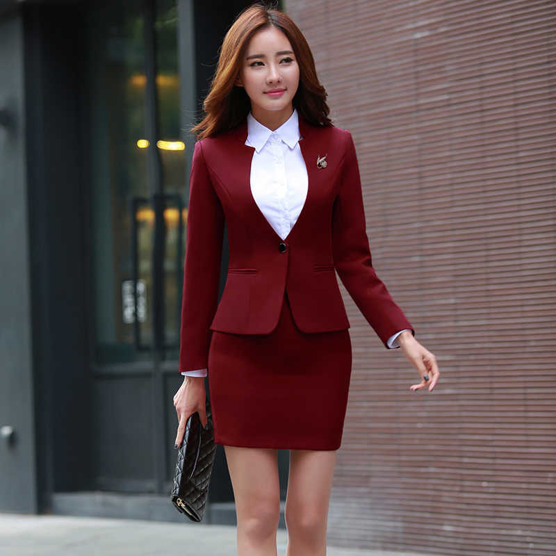 Korean Style Women Skirt Suits Office