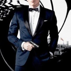 Image 2 - Skyfall Marineblauw Tuxedo Mannen Suit Custom Made, Skyfall Midnight Blue Wedding Suits Voor Mannen, bespoke Dubbele Kraag Smoking Voor Mannen