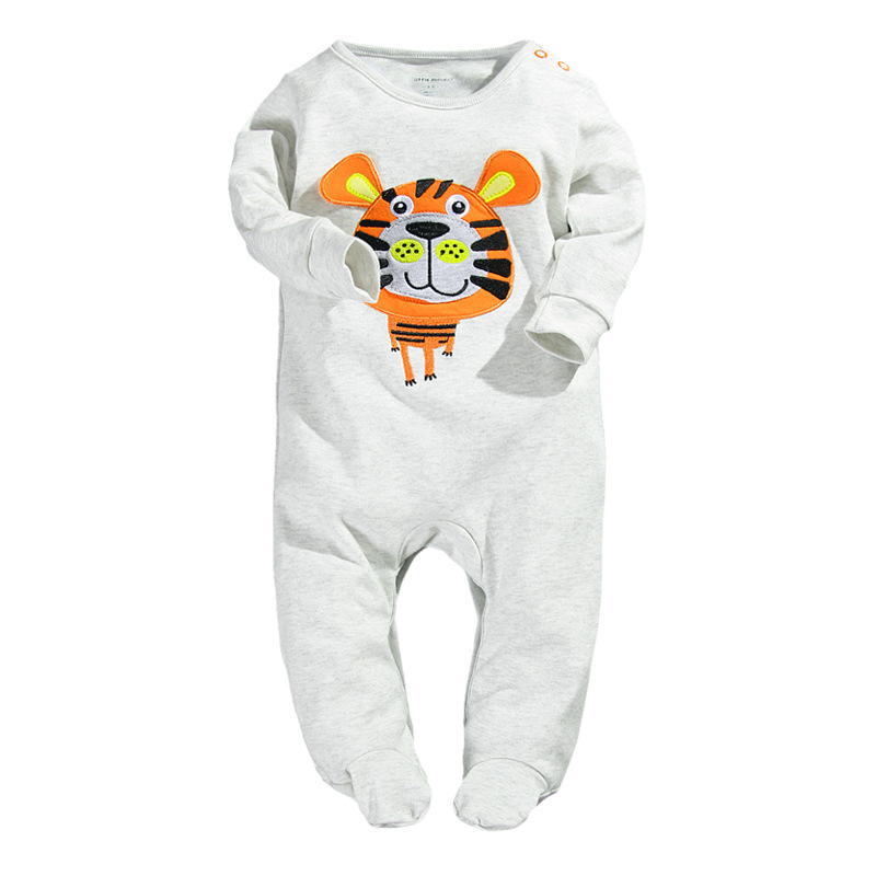 Tiger Baby Boys Rompers Long Sleeve Pajamas Body Suits Babywear Sleepwear Sleep sack Grey bebe ropa
