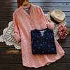Women S Spring Causal Loose Design Floral Printing Button V Neck Cotton Long Sleeved Female Shirt