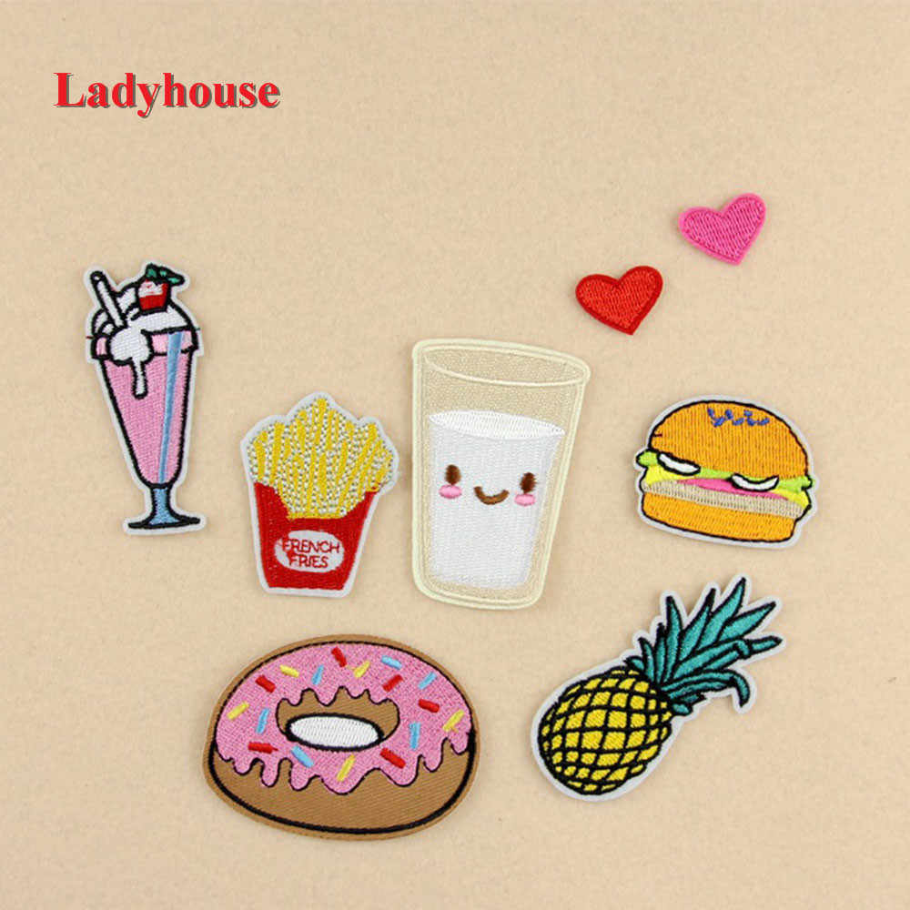 Flower Animal Heart Letter Food Cartoon Patch Iron on Badge Patches Embroidered Applique Sewing Patch Clothes Stickers
