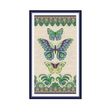 Joy Sunday Three Butterflies Chinese Cross Stitch Fabric Aida 14Ct 11Ct Printed Canvas DMC Embroidery Floss DIY Needlework Sets