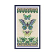 Joy Sunday Three Butterflies Chinese Cross Stitch Fabric Aida 14Ct 11Ct Printed Canvas DMC Embroidery Floss DIY Needlework Sets(China)