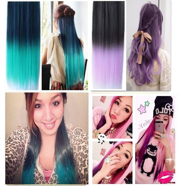 Vegaswigs Ombre Dip Dye Color Clip In Hair Extension 24inch Straight