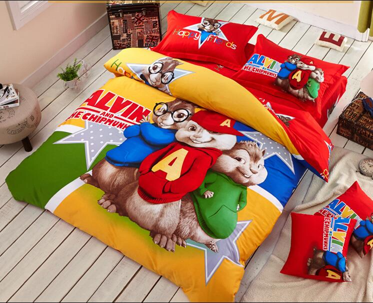 3D red yellow Alvin and the Chipmunks bedding set cartoon bedspread