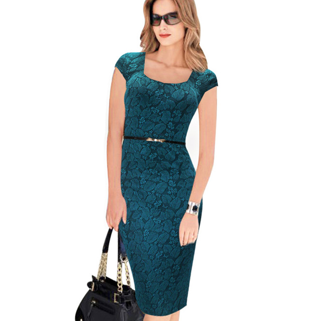 Free Shipping Designer Women Dress Elegant Floral Print Cap Sleeve Work Business Casual Party Vestidos 004