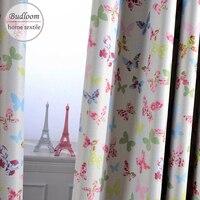 Cortinas opacas de mariposa rosa y azul para habitación de bebé, cortinas de colores para ventana de habitación de niña, jardín de infancia