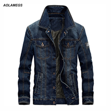 Aolamegs New Men's Denim Jackets Coat Large Size Casual Male chaqueta Spring Autumn Long Sleeve Blue Men Jeans Tops Brand Coats