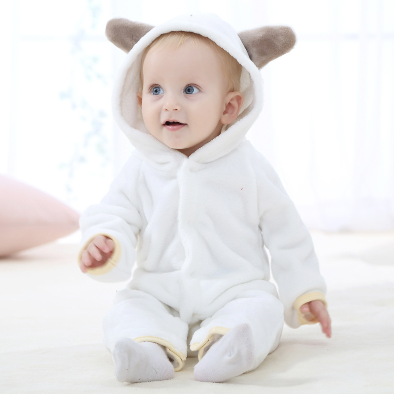 1c7f5b44a5db V TREE Winter Animal shapes baby rompers fleece clothes white pink ...