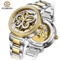 STARKING Lujo de Diamantes Mujer Vestido Oyster Relojes Mecánicos Automáticos Del Reloj de Oro Mujeres de Cuero Resistente Al Agua Reloj de Pulsera AL0181