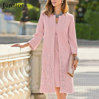 JUNNIOR New Office Lady Plain Sets Elegant Womens Two Piece Outfits Pink 3/4 Sleeve Lace 2 Piece Outfits for Women Plus Size 5XL