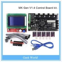 Płyta sterująca zestaw z MKS Gen Gen V1.4 MKS V1.4 RepRap wyżywienie + 5 SZTUK 8825 sterownik + 12864 Graficzne LCD