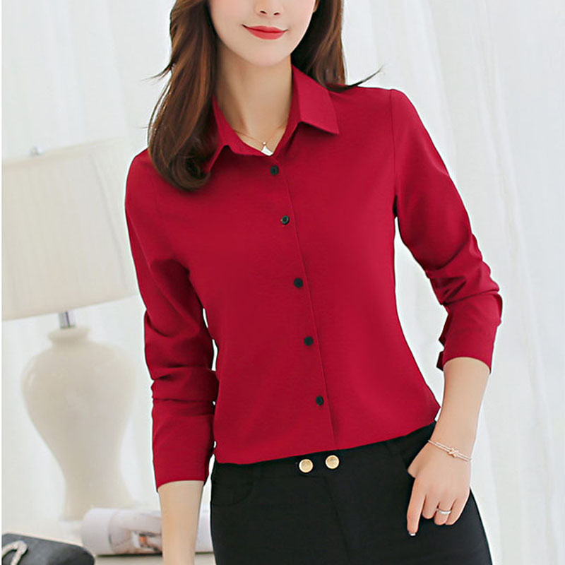 Large size Korean style Long Sleeve Blouses Autumn Winter Office Lady Turn Down Collar Women Shirts Plus Size Female Clothing