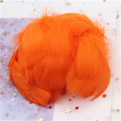 Натуральные гусиные перья 4-8 см, маленькие плавающие цветные перья лебедя, Плюм для рукоделия, свадебные украшения, украшения для дома, 100 шт - Цвет: orange red 100pcs