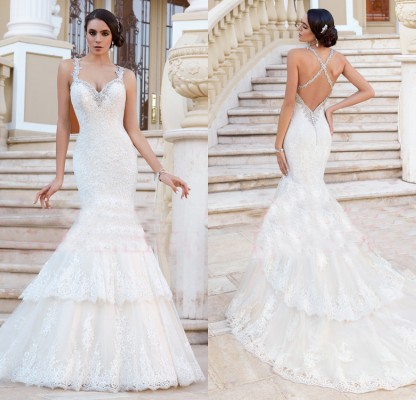 Vestido De Noiva New Spring Sexy V Neck Beaded Lace Mermaid Wedding Dresses 2019 Backless Bride Dress Court Train C0132