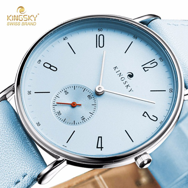 купить Fashion Women Watches KINGSKY Brand Big Case Small Dials Wristwatch Luxury PU Leather Strap Blue Quartz Watch Relogio Feminino по цене 577.3 рублей