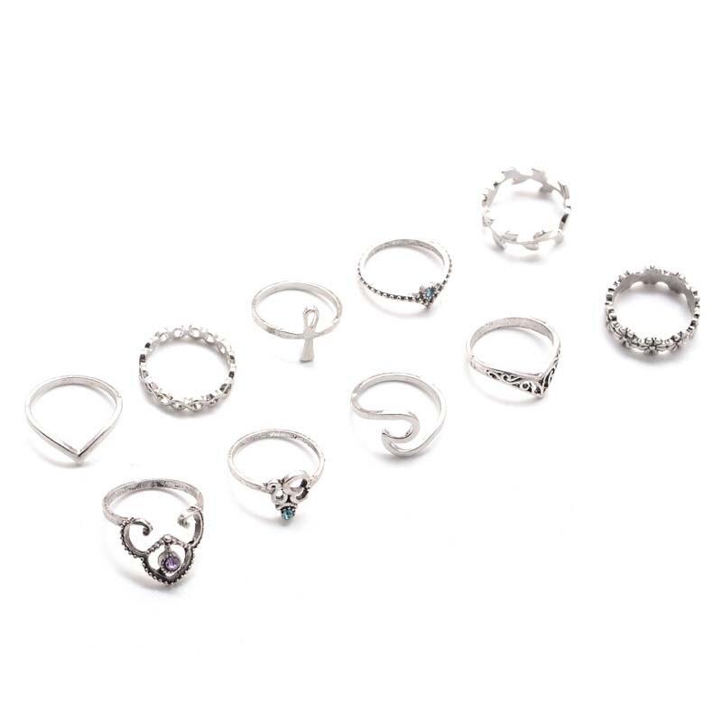 MJARTORIA 1Set/10PCs Antique Silver Color Rings Bohemia Hollow Midi Women Finger Ring Jewelry Fit Club Party Multi Pattern Rings