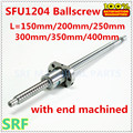 12mm Rolled Ball Schraube 1 stück SFU1204 L = 150/200/250/300/350/ 400mm mit einzel ballnut BK/BF12 ende bearbeitet für CNC teile-in Linearführungen aus Heimwerkerbedarf bei