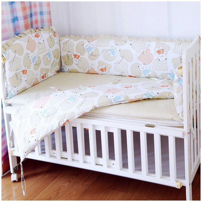 Promotion! 6PCS Bear Crib Baby Bedding Set Baby Nursery Cot Bedding Crib Bumper (bumpers+sheet+pillow cover) promotion 6pcs bear boys baby cot crib bedding sets baby nursery bed kits set crib bumpers sheet bumper sheet pillow cover