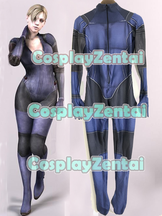 3D Printed Jill Valentine Cosplay Costume Resident Evil suit Lycra Spandex Halloween Costume Custom Made Only Bodysuit
