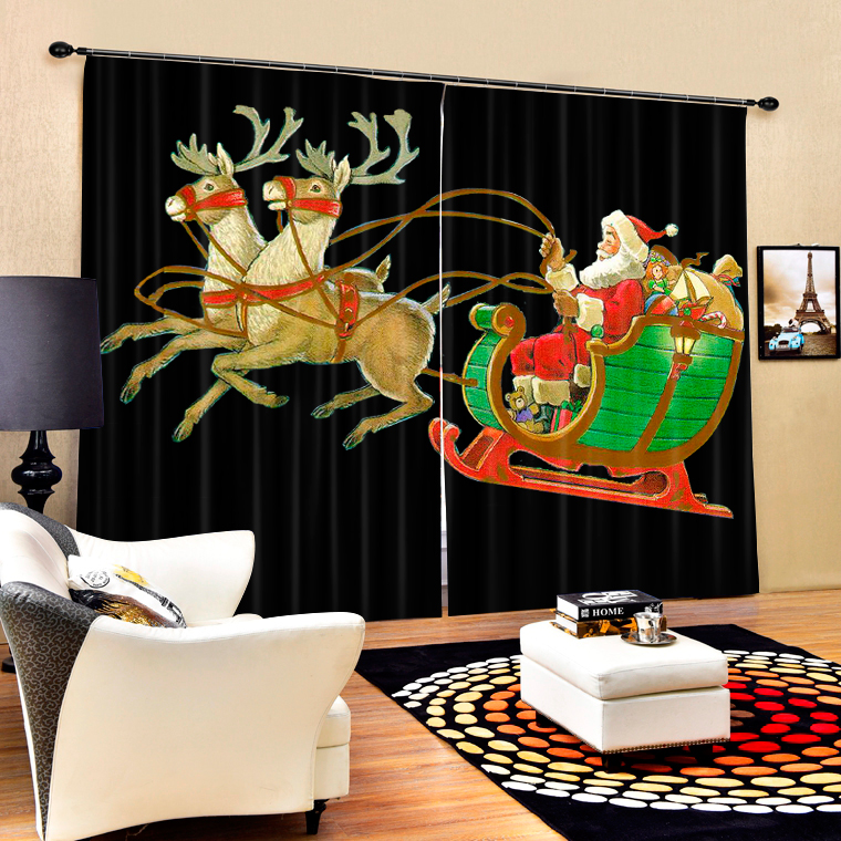 Christmas Santa Claus And Deers 3D Painting Blackout Curtains Office Bedding Room Living Room Sunshade Window Custom made Size - 3