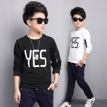 Brand Cotton Big boys T-shirt 2016 New Autumn male geometric lengthy sleeved Tee Shirts Baby Boy 3T 4T 5T 6T 7T 8T 9T 10T 12T 16T