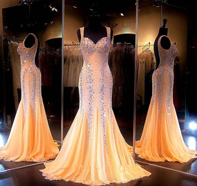 Mermaid   Prom     Dresses   2018 Gorgeous Coral Sweetheart Luxury Crystal Tulle Beaded Backless Sequin Long Evening Formal Gowns